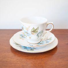 Queen Anne Blue Floral Teacup Saucer Trio #vintage