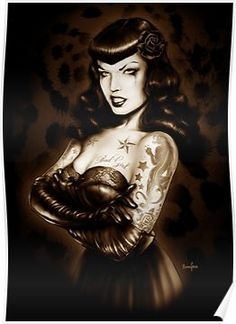 This is a Poster print of an Original Marcus Jones Painting, hand signed on the reverse, The image features the lovely Bettie Page looking Pin Up Girl Tattoo, Pin Up Tattoos, Girl Tattoos, Bettie Page Photos, Zombie Pin Up, Tattoo Posters, Olivia De Berardinis, Rockabilly Art, Pin Up Girl Vintage