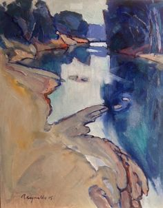 An Oil painting by Ron Reynolds in the Abstract style depicting River Rocks and Water with main colour being Blue and Ochre and titled Yarra River near Bend of Islands