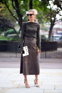 cozy knit + leather midi skirt // London street style