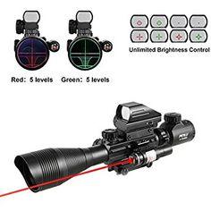 4-16x50EG Combo Rangefinder Rifle Scope Red laser /& Red//Green Dot Sight Scope