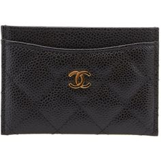 Pre-owned Chanel Black Caviar Quilted Leather Card Holder (€255) ❤ liked on Polyvore featuring bags, wallets, quilted bag, black quilted leather bag, card holder wallet, pre owned bags and chanel wallet