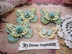 Light Blue and Ivory Paper Butterflies, Butterfly Embellishments for Scrapbook Layouts Cards Mini Albums and Paper Crafting