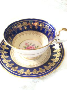 Antique Aynsley Cobalt Blue Tea Cup and by MariasFarmhouse on Etsy, $125.00