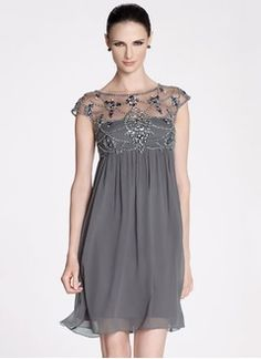 Empire Scoop Neck Knee-Length Chiffon Mother of the Bride Dress With Ruffle Beading