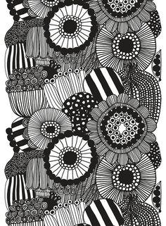 "Collection: Fall 2016 Fabrics. Print: Maija Louekari. Material: 100% cotton. Dimensions: 57"" wide (+/-3%). 46"" repeat. Color: 190 White/Black. Description: Siirtolapuutarha ""allotment"" print designed"