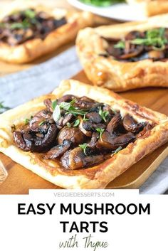 This super-easy Mushroom Tart recipe is simple, fast and full of great taste. It's ready in just 25 minutes and is perfect as a vegan or vegetarian dinner or as an appetizer. It's also great for Christmas, Thanksgiving and the holidays! School Lunch Recipes, Vegetarian Recipes Dinner, Veggie Recipes, Low Sugar Recipes, Tart Recipes, Dairy Free Recipes, Dinner Recipes Easy Quick, Fall Dinner Recipes, Mushroom Tart