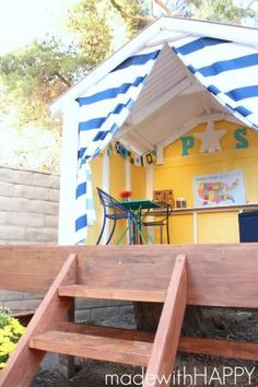 Sharing how to make a treehouse roof. We are framing the treehouse and sharing all the fun for the DIY Backyard Playhouse. Outside Playhouse, Backyard Playhouse, Build A Playhouse, Wooden Playhouse, Playhouse Kits, Simple Playhouse, Playhouse Decor, Pallet Playhouse, Kids Outdoor Play