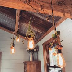 Edison bulb lighting at Shady Tree, Fairytale Cottage, Outdoor Baths, Cottage In The Woods, Creative People, Stargazing, Natural Wonders, Recycled Materials, Waterfall