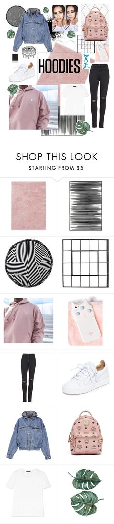"""Style with a Champion Hoodie."" by jenasrrp ❤ liked on Polyvore featuring Ted Baker, Art Addiction, The Beach People, Champion, rag & bone/JEAN, Giuseppe Zanotti, Fear of God, MCM, Polaroid and The Row"