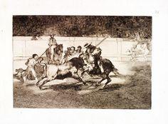 Francisco de Goya y Lucientes (1746-1828), La Tauromaquia, 1816, suite complète de 33 planches à l'eau-forte, l'aquatinte, le burin et la pointe-sèche, 25 x 35 cm (environ). Estimation : 120 000/140 000 €. Mardi 30 juin, salle 9 - Drouot-Richelieu. Kahn - Dumousset SVV. M. Cahen.