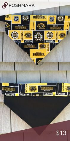 Boston Dog Bandanas Bandana has a loop that your dog's collar slides through. Size Large.  No knots, no ties, no hassle. Machine wash and dry.  Fits dogs under over 40 lbs. Loop is 2 inches wide for collar. Boston Dog Bandanas Accessories