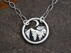 Mountains and the Moon Pendant - Silver Nature Necklace - Landscape - Mountain Range and Pines at Night - Everyday Necklace