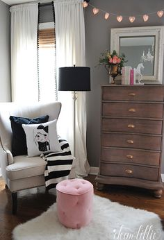 I know this room is for a littel girl, but I love it. Pink, gray, white, black