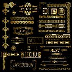 stock vector : Gold menu and invitation border elements Art Deco Borders, Motif Art Deco, Decorative Borders, Art Deco Design, Frise Art, Art Nouveau, Borders And Frames, Nouvel An, Grafik Design