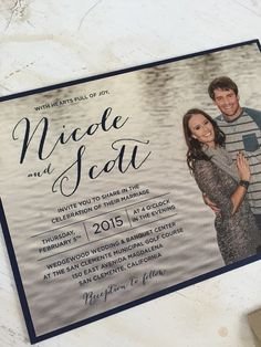 Wedding Invitation Suite // Elegant and Vintage //  Simple and Classic Script //  Invite with Picture // Burlap // Custom // Etsy