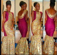 Nigerian Ankara wedding bride gold hot pink long dress bride