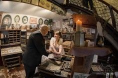Printing of a marriage certificate in the medieval printshop in the Bled castle