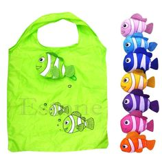 Fashion Little Fish Reusable Folding Shopping Bag Travel Grocery Bags Tote color random