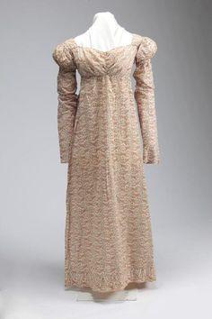 Mauve, Red, and Black Floral Print Dress. Ca. 1805 to 1810.   Missouri History Museum. #vintage #vintagefashion