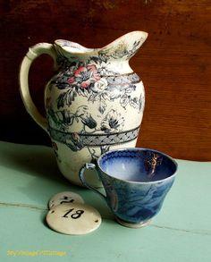 Vintage Pottery Pitcher England Pink and by MyVintageVTCottage