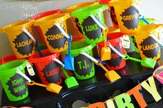 Party Favors - sand buckets with guests' names!