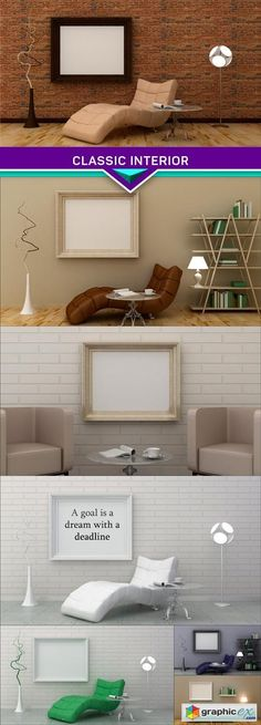 Classic interior background on the brick wall 3d render 7X JPEG  stock images