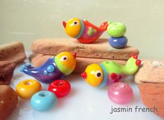 jasmin french ' birdies ' lampwork beads glass art set