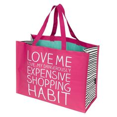 Happy Jackson Shopper Bag - Love Me Love My Dangerously Expensive Shopping Habit day Me Bag, Flamingo Gifts, Vanity Bag, I Love Ny, Fabric Bags, Medium Bags, Gift Bags, Bag Storage, Fashion Bags
