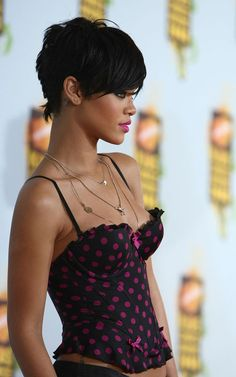 I always ask for this cut, and my stylist laughs at me because I don't have 1/10th the hair (or cheekbones) Rhianna does. If only...