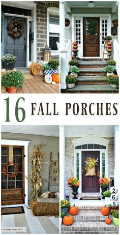 Prepare to be inspired with 16 pictures of fall porch decorating ideas! Mums, pumpkins, hay bales, corn stalks, and more!