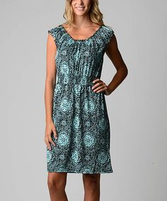 Look at this #zulilyfind! Turquoise Arabesque Peasant Dress by Dynasty Fashions #zulilyfinds