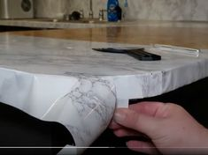 Contact Paper Countertops Full Tutorial And Review - The Nifty Nester Cheap Kitchen Countertops, Diy Concrete Countertops, Counter Edges, Counter Top, Contact Paper, Home Repair, Diy Kitchen, Nifty, Kitchen Remodel