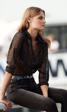 Model look | Striped sheer blouse and high waisted black jeans - casual blouses, blue blouses for women, ladies long sleeve silk blouses *sponsored https://www.pinterest.com/blouses_blouse/ https://www.pinterest.com/explore/blouses/ https://www.pinterest.com/blouses_blouse/lace-blouse/ http://www.ebay.com/sch/Womens-Tops-Blouses/53159/bn_661824/i.html