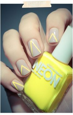 Gray and yellow nail art combination. Paint on thin yellow v-lines on top of your matte gray nails and make a stateme : Gray and yellow nail art combination. Paint on thin yellow v-lines on top of your matte gray nails and make a statement in fashion. Neon Nails, Love Nails, How To Do Nails, Pretty Nails, Chevron Nails, Striped Nails, Neon Nail Art, Aztec Nails, Geometric Nail Art