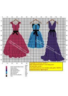 3 miniature dress cross stitch charts
