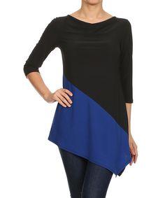 Another great find on #zulily! Black & Blue Asymmetrical Drape Top #zulilyfinds