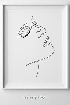 Female Face Figure, One Line Girl Printable Illustration, Feminine Minimal Line Sketch, Fine Art, Tu Blind Contour Drawing, Face Line Drawing, Female Face Drawing, Single Line Drawing, Tumblr Room Decor, Tumblr Rooms, Line Sketch, Face Lines, Illustration