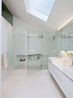 15 Modern Terrace Design Ideas: Renovation/Modernisation Of Art Deco Terrace House At 31 Modern White Bathroom, Contemporary Bathroom Designs, Modern Shower, Minimalist Bathroom, Beautiful Bathrooms, Attic Bathroom, Bathroom Kids, Bathroom Interior, Light Bathroom