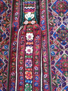 A part of embroidered bonnet, Slovakia Embroidery On Clothes, Folk Embroidery, Embroidery Designs, Folk Costume, Costumes, Palestinian Embroidery, Bohemian Rug, Palette, Rugs
