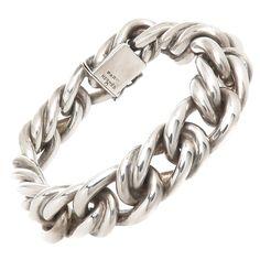 Hermes Paris Solid Heavy Silver Link Bracelet | From a unique collection of vintage link bracelets at https://www.1stdibs.com/jewelry/bracelets/link-bracelets/