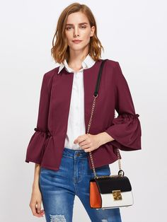 Shop Frilled Bell Sleeve And Hem Open Front Blazer online. SHEIN offers Frilled Bell Sleeve And Hem Open Front Blazer & more to fit your fashionable needs. Blazer Dress, Blazer Jacket, Blazer Suit, Outfit Style, Fashion News, Fashion Outfits, Fast Fashion, Trendy Outfits, Cropped Blazer