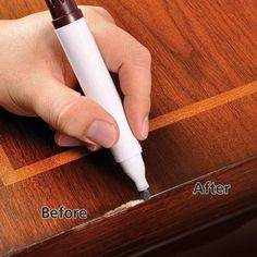 LiberonTouchUp Pens can be used to disguise superficial scratches and small blemishes on finished wood surfaces. TouchUp Pens are available in a variety of wood type tints. Hardwood Floor Repair, Wood Repair, Hardwood Floors, Repair Wood Furniture, Furniture Ideas, Wood Floor Restoration, Best Paint For Wood, Furniture Scratches, Wood Scratches