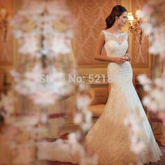 Sexy rendas de fuga da noiva vestido de noiva novo sereia vestidos de noiva vestido de noiva 2014 de casamento elegante vestido de fotos reais