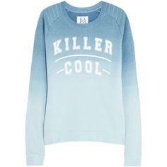 Zoe Karssen Killer Cool dégradé cotton-blend jersey sweatshirt ($66) ❤ liked on Polyvore featuring tops, hoodies, sweatshirts, blue, zoe karssen, sweat shirts, blue top, print sweatshirt and print top