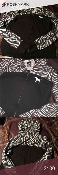VS PINK hoodie Zebra print M SIZE medium, oversized. Longer in length than most vs jackets. open to offers! In GREAt Condition! PINK Victoria's Secret Tops Sweatshirts & Hoodies