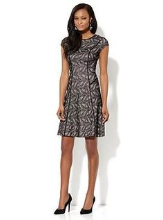 Piped Floral-Lace Fit & Flare Dress