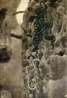 In the painting of   Medicine,     Klimt presents us with an image of an eternal, pitiless ladder (or wheel) of life and death.