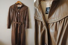 Vintage Leather Trench Coat- Brown Leather Dress Coat, Brown Flair Jacket, Heavy Leather Coat on Etsy, $65.00