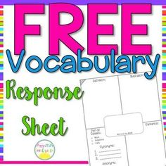 Free Vocabulary Word of the Week Response Sheet